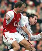 Dennis Bergkamp (left) and Lee Bowyer