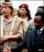 Gaddafi with Zambian President Chiluba