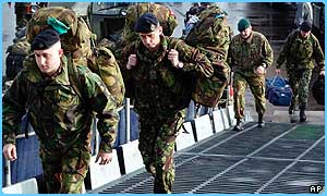 British troops board the HMS Ocean