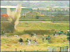 Scene from attack in graveyard