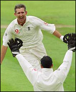 Caddick celebrates his 5-14 at Headingley in 2000
