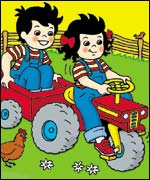 Tim and Topsy riding a tractor. Copyright: Ladybird