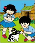 Topsy and Tim with a rabbit. Copyright: Ladybird