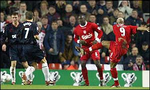 El Hadji Diouf gives Liverpool a perfect start as he scores with a 20-yard shot after eight minutes