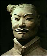 A terracotta soldier of China's First Emperor on display at the British Museum