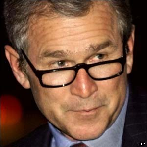 UNALTERED: President Bush wears glasses, though rarely in public