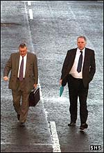 Hearts chairman Chris Robinson and Dunfermline's John Yorkston arrive at Hampden