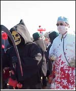 Demonstrator dressed as death and doctor at anti abortion rally in DC