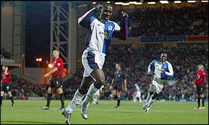 Andy Cole gives Blackburn the lead after 11 minutes