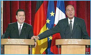 Gerhard Schroeder (left) and Jacques Chirac