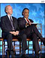 Joe Lieberman and Al Sharpton at NARAL rally, Washington DC, 21 Jan 03