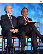 Joe Lieberman (l) and Al Sharpton