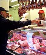 Customer buying meat