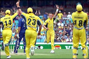 Australian bowler Brett Lee celebrates the wicket of England batsman Marcus Trescothick