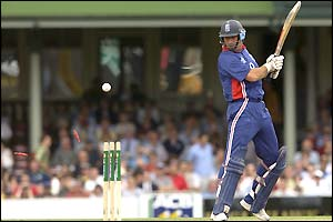 England captain Nasser Hussain watches as he is dismissed for just one run