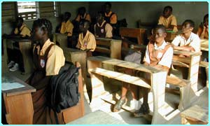 Pupils studying in Ghana