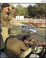 Indian soldiers on patrol in Delhi