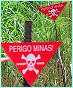 A landmine sign in Angola