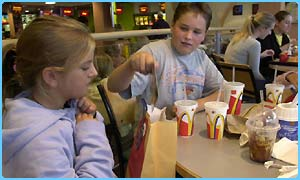 Children eating in McDonalds
