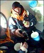Kingfisher 2 crew members eat down below