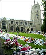 Floral tributes by St Andrews Church, Soham