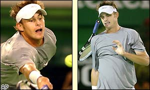 Andy Roddick shows his frustration after losing his serve in the fourth set