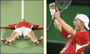 A delighted Rainer Schuettler celebrates reaching his first ever Grand Slam final where Andre Agassi awaits him