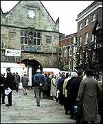 Visitors outside the Old Market Hall