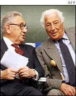 Ex US Secretary of State Henry Kissinger (left) and Giovanni Agnelli