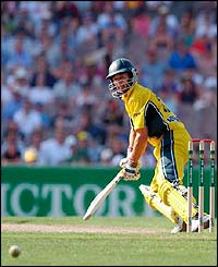 Australia's Brad Hogg glides the ball away on his way to hitting 71 not-out