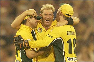 Shane Warne  takes the vital wickets of Alec Stewart and Michael Vaughan