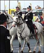 Police horses in full regalia