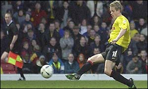 Heidar Helguson scores the winner for Watford against West Brom