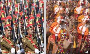 Delhi Police march with rifles (left) and the Indian Army Camel Brigade (right)