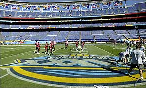 Groundstaff put the finishing touches to the Qualcomm Stadium