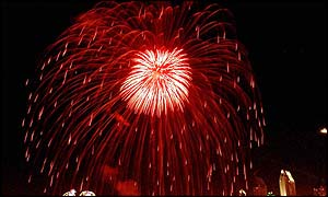 Fireworks light up the San Diego sky