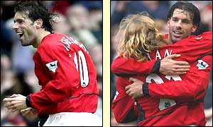 Ruud van Nistelrooy celebrates his first goal and is congratulated by Diego Forlan on his second