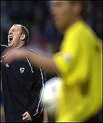 West brom manager Gary Megson shouts instructions at Vicarage Road