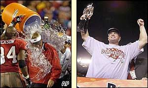 Tampa's coach Jon Gruden gets a soaking while Brad Johnson holds the trophy aloft