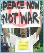Thai protestor during a rally outside the U.S. embassy in Bangkok
