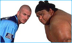 David Beckham up against a Sumo wrestler in a Pepsi ad