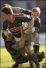 Leicester's Rod Kafer in action against Northampton