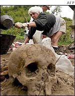 Forensic scientist examines mass grave