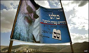 Banner for ultra-Orthodox Shas leader near the West Bank settlement of Gush Etzion