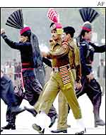 Indian and Pakistani border guards drill at Wagah