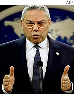 US Secretary of State Colin Powell addresses reporters after the Iraq inspectors' report