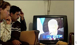 Palestinians follow the result from their home in Ramallah
