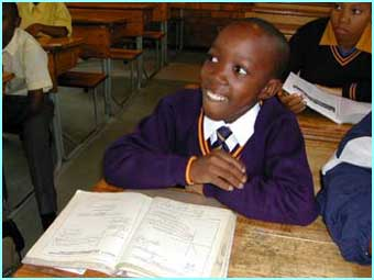 In his classroom in Soweto, Msawawa looks like any other 13-year old schoolboy.