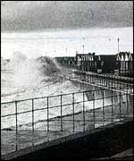 Storm-lashed sea front   Environment Agency