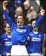 Barry Ferguson shows his joy at scoring